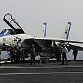 An F-14d Tomcat On The Flight Deck by Gert Kromhout