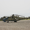 An Mi-35 Attack Helicopter At Kunduz by Terry Moore