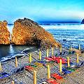 5 Terre Monterosso Beach Umbrellas In Passeggiate A Levante by Enrico Pelos
