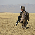 U.s. Marine Patrols A Wadi Near Kunduz by Terry Moore
