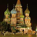 Red Square In Moscow At Night by Michael Goyberg