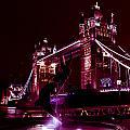 Tower Bridge And The Girl And Dolphin Statue  by David Pyatt
