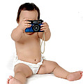 A Chubby Little  Girl Photograph With Vintage Camera  by Antoni Halim