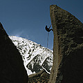 A Climber Rappels Off Grandma Boulder by Gordon Wiltsie