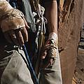 A Close View Of Rock Climber Becky by Bill Hatcher