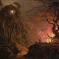 A Cottage On Fire At Night by Joseph Wright of Derby