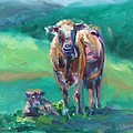 A Cow And Her Calf by Donna Tuten