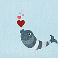 A Fish Blowing Love Heart Bubbles by Jutta Kuss