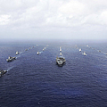 A Fleet Of U.s. Navy And Japan Maritime by Stocktrek Images