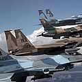 A Flight Of Aggressor F-15 And F-16 by Stocktrek Images