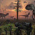 A Herd Of Allosaurus Dinosaur Cause by Mark Stevenson