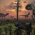 A Herd Of Allosaurus Dinosaur Cause by Mark Stevenson
