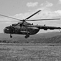 A Macedonian Mi-17 Helicopter Landing by Stocktrek Images