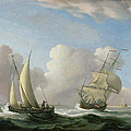 A Man-o'-war In A Swell And A Sailing Boat by Peter Monamy