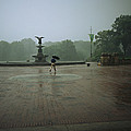 A Man Scurries Across Bethesda Terrace by Melissa Farlow
