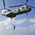 A Marine Fast Ropes From A Ch-46e Sea by Stocktrek Images