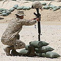 A Marine Hangs Dog Tags On The Rifle by Stocktrek Images