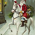 A Merry Christmas Card Of Santa Riding A White Horse by American School