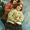 A Merry Christmas Postcard With Sledding Girls by American School
