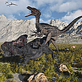 A Pack Of Velociraptors Attack A Lone by Mark Stevenson