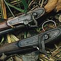 A Pair Of Old Flint-type Rifles Lying by Steve Winter