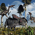 A Pair Of Velociraptors Attack A Lone by Mark Stevenson