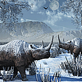 A Pair Of Woolly Rhinoceros In A Severe by Mark Stevenson