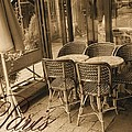 A Parisian Sidewalk Cafe In Sepia by Jennifer Holcombe