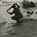 A Photographer Processes Film Among Ice by Oscar D Von Engeln