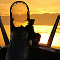 A Plane Captain Enjoys A Sunset by Stocktrek Images