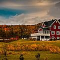 A Red Farmhouse In A Fallscape by Chantal PhotoPix