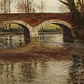 A River Landscape With A Bridge  by Fritz Thaulow