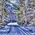A Rural Road In A Magical And Haunted Forestscape After A Snowfall In Canada by Chantal PhotoPix