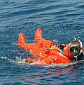 A Sailor Rescued By A Diver by Stocktrek Images
