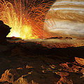 A Scene On Jupiters Moon, Io, The Most by Ron Miller