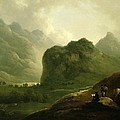 A Sketching Party In The Pass At Borrowdale by Julius Caesar Ibbetson