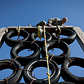 A Soldier Climbs Over A Tire Tower by Stocktrek Images