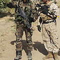 A Spanish Marine Points Out An by Stocktrek Images