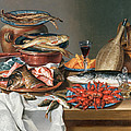 A Still Life Of A Fish Trout And Baby Lobsters by Anton Friedrich Harms