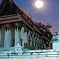 A Tempel In A Wat During A Full Moon Night  by U Schade