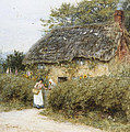 A Thatched Cottage Near Peaslake Surrey by Helen Allingham