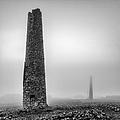 A Twin Cornish Mine Chimneys by John Farnan