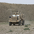 A U.s. Army Cougar Patrols A Wadi by Terry Moore