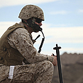 A U.s. Marine Uses A Field Phone by Stocktrek Images