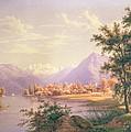 A View Of Scherzingen On The Lake Of Thun by Jakob Suter