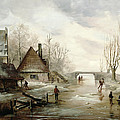 A Winter Landscape With Figures Skating by Dutch School