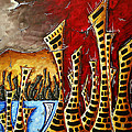 Abstract Art Contemporary Coastal Cityscape 3 Of 3 Capturing The Heart Of The City II By Madart by Megan Duncanson