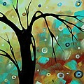 Abstract Art Original Landscape Painting Colorful Circles Morning Blues IIi By Madart by Megan Duncanson