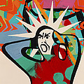 Abstract Artwork Of A Angry Man Holding His Head by Paul Brown
