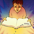 Abstract Artwork Of A Dyslexic Boy Reading A Book by David Gifford